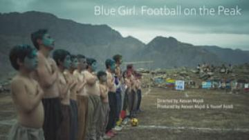 Blue Girl. Football on the Peak